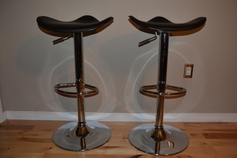 Remarkable 2 Black And Chrome Bar Stools Monarkey Home Staging Machost Co Dining Chair Design Ideas Machostcouk